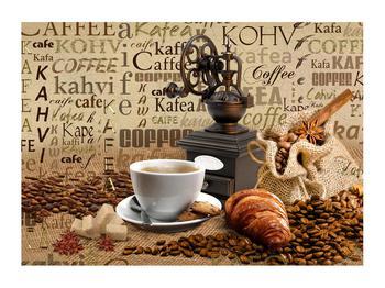 Obraz kávy, mlýnku a croissantů (K014713K7050)