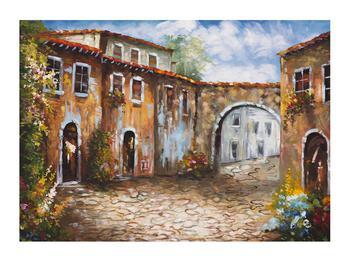 Obraz malované středomořské uličky (K014855K7050)