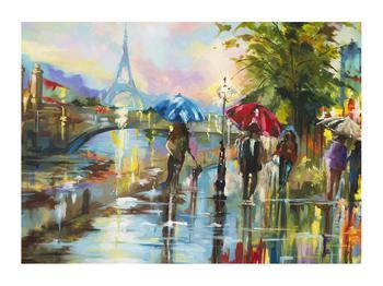 Obraz deštivého počasí a Eiffelovy věže (K014858K7050)
