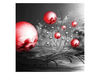 Moderní obraz - červené koule (F002086F7070)