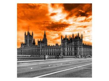 Obraz Westminsterského opatství s oranžovou oblohou (F002455F7070)