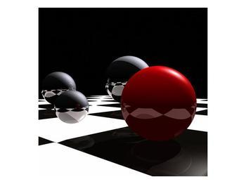 Obraz čtyř koulí na šachovnici - červená (F004098F7070)