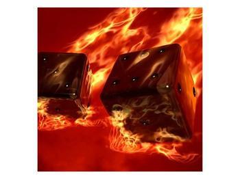 Moderní obraz hořících herních kostek (F004319F7070)