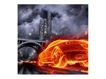 Tablou cu mașina arzând (K011167K7070)