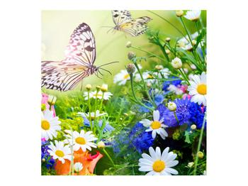 Obraz letných kvetov s motýľom (K012220K7070)