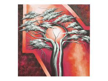 Tablou oriental roșu cu pom și soare (K014068K7070)