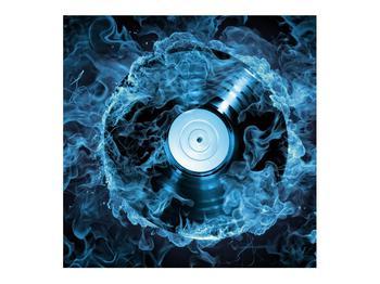 Tablou cu placă de gramofon în foc albastru (K014442K7070)