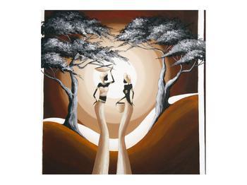 Tablou oriental cu două femei și copac (K014682K7070)
