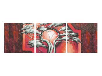 Tablou oriental roșu cu pom și soare (K014068K9030)