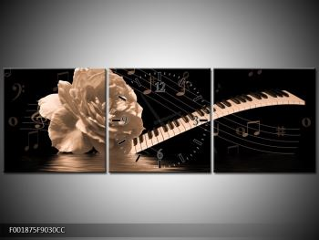 Černobílý obraz růže a klavíru (F001875F9030CC)