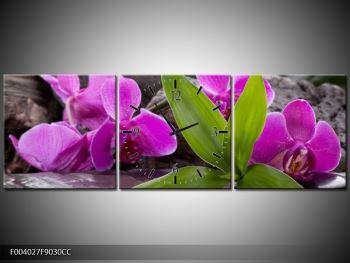 Obraz fialových orchidejí s listím (F004027F9030CC)