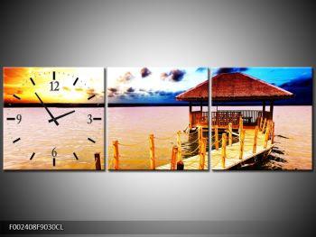 Obraz dřevěné přístavby na vodě (F002408F9030CL)