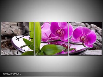 Obraz fialových orchidejí v míse (F004029F9030CL)