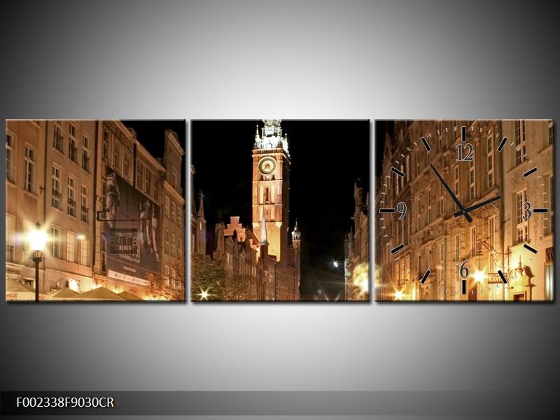 Obraz noční ulice s věží (F002338F9030CR)