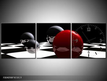 Obraz čtyř koulí na šachovnici - červená (F004098F9030CR)
