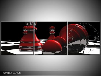 Obraz červených pěšců na šachovnici (F004102F9030CR)