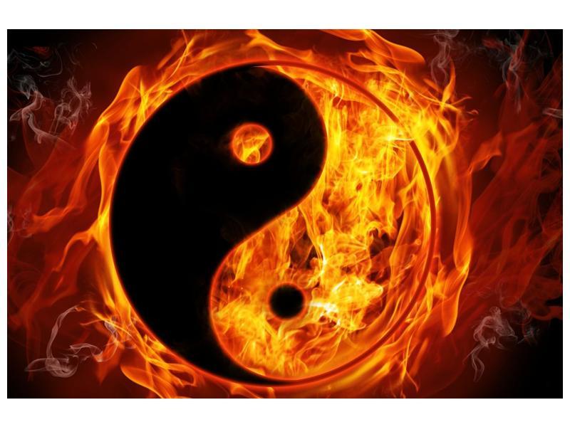 Obraz hořícího jin jang (F002309F9060)