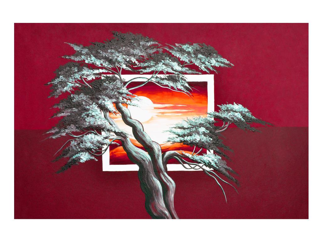 Moderní obraz stromu a východu slunce (K014022K9060)