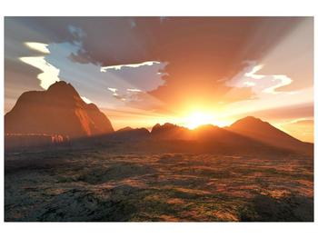 Obraz západu slunce nad horama (F001700F9060)