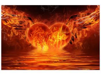 Obraz hořícího srdce s křídly  (F002884F9060)
