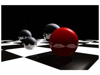 Obraz čtyř koulí na šachovnici - červená (F004098F9060)