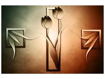 Moderní obraz dvou kreslených růží (F004121F9060)