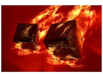 Moderní obraz hořících herních kostek (F004319F9060)