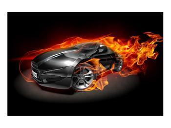 Tablou cu mașina arzând (K011174K9060)