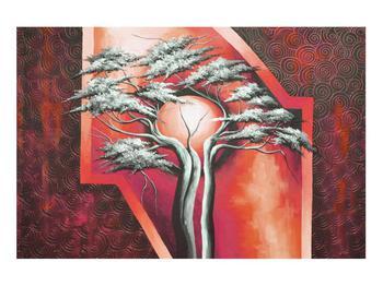 Tablou oriental roșu cu pom și soare (K014068K9060)