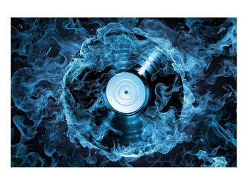 Tablou cu placă de gramofon în foc albastru (K014442K9060)