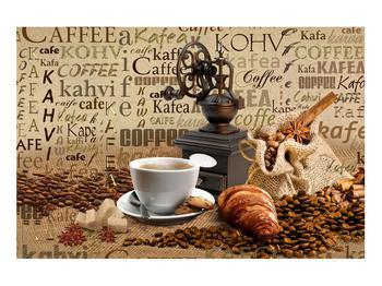 Obraz kávy, mlýnku a croissantů (K014713K9060)