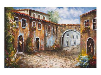 Obraz malované středomořské uličky (K014855K9060)