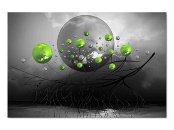Obraz zelených abstraktných gulí (V020103V9060)