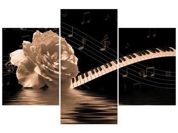 Černobílý obraz růže a klavíru (F001875F90603PCS)