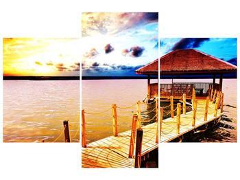Obraz dřevěné přístavby na vodě (F002408F90603PCS)
