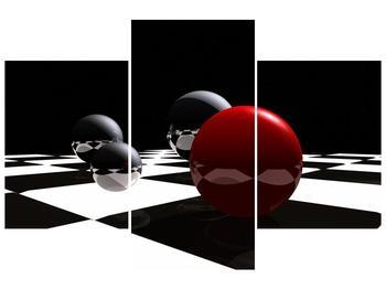 Obraz čtyř koulí na šachovnici - červená (F004098F90603PCS)