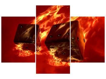Moderní obraz hořících herních kostek (F004319F90603PCS)