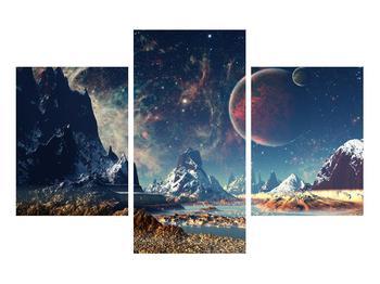 Tablou cu peisaj montan cu planete (K012168K90603PCS)