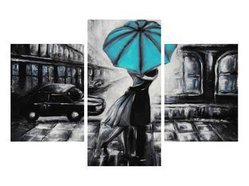 Obraz zamilovaného páru pod deštníkem (K012472K90603PCS)