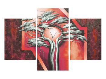 Tablou oriental roșu cu pom și soare (K014068K90603PCS)