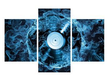 Tablou cu placă de gramofon în foc albastru (K014442K90603PCS)