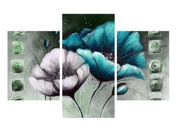 Tablou cu maci albe și albastre (K014612K90603PCS)