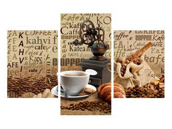 Obraz kávy, mlýnku a croissantů (K014713K90603PCS)