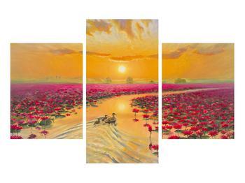Tblou cu flori de lotus și rațe (K014993K90603PCS)