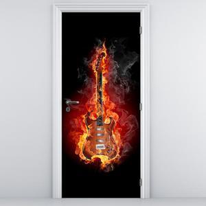 Fototapeta pentru ușă - chitara în foc (D011393D95205)