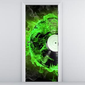 Fototapeta na dveře - zelené hořící CD (D011404D95205)