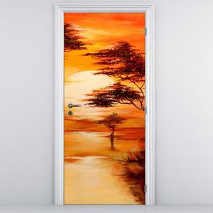 Foto tapeta na vratih - oranžna pokrajina (D011504D95205)