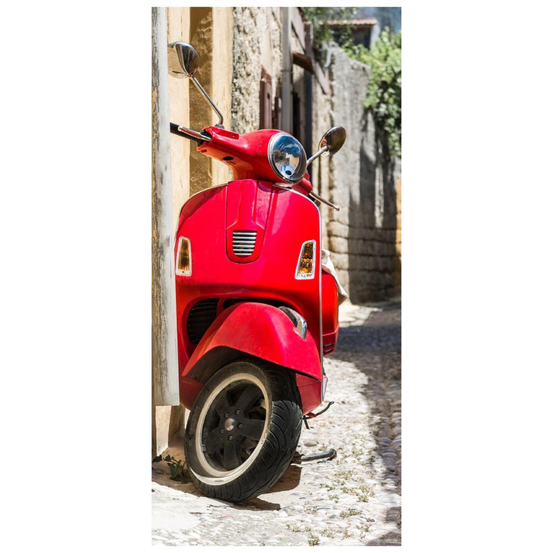 Fototapeta pentru ușă - scuter roșu (D012131D95205)