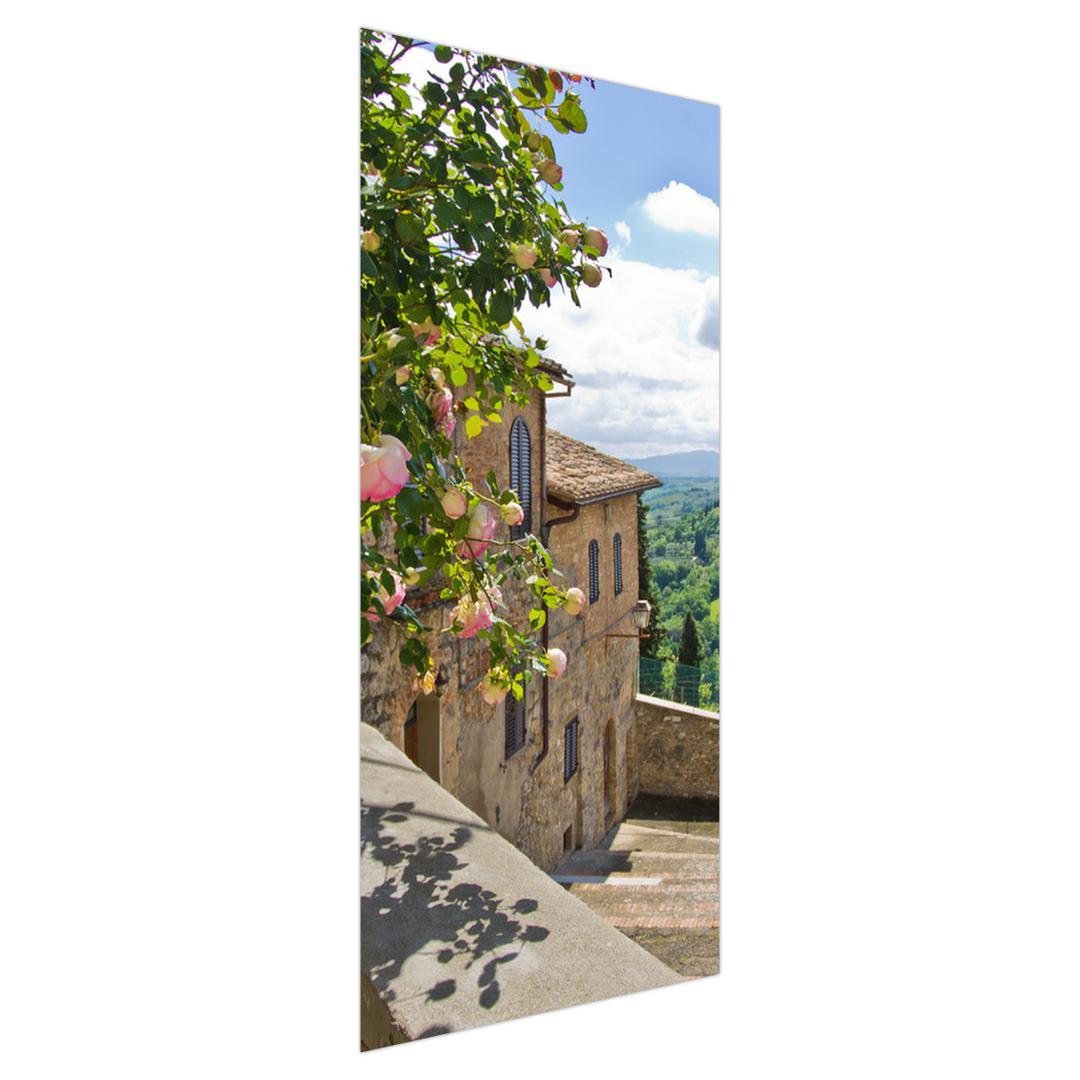 Foto tapeta za vrata - Ruža na balkonu (D012326D95205)