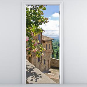 Fototapeta na dvere - Ruže na balkóne (D012326D95205)